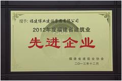 2012年度福建省建筑业先进企业